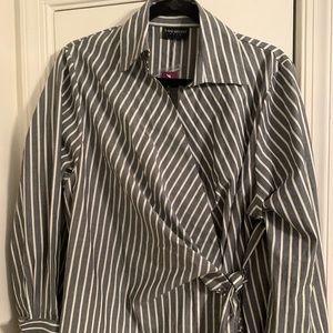 Grey and white striped blouse